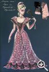 Эскиз И. Елистратовой «наряда №2» Адель. Бальное платье нежных цветов делает ее похожей на статуэтку из фарфора