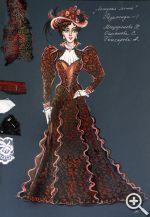 Эскиз И. Елистратовой городского платья Розалинды.  Чопорное, дорогое и глухое платье делает ее настоящей гранд-дамой